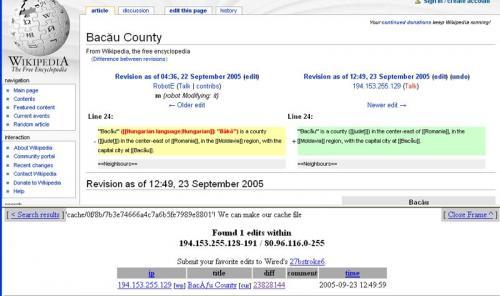 Modul in care a fost modificata definitia pentru Bacau in Wikipedia