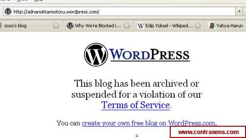 Unul din blogurile anti-Adnan Oktar a fost inchis