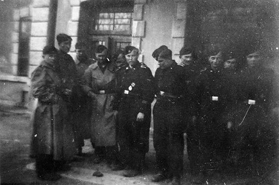 9. Kompanie personnel gather outside Bacau rail station just after arriving in the town, 14 April 1944.