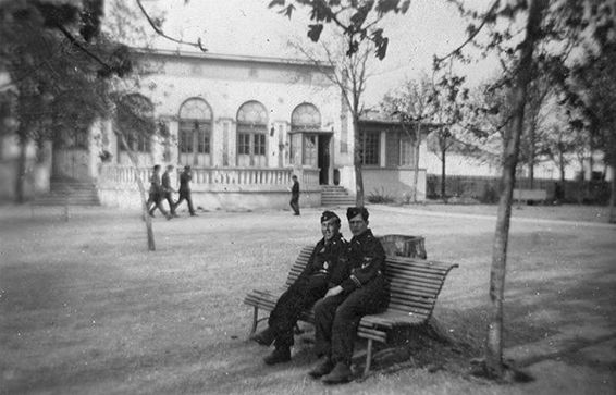 Lachner and a comrade relaxing in Bacau during May 1944.