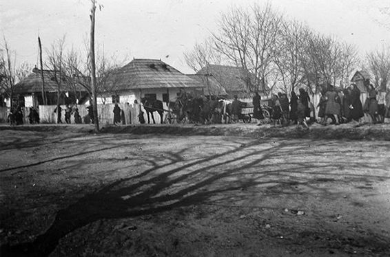 People of Bacau on the move, April 1944.