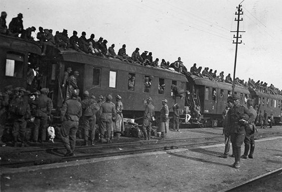 SS-Totenkopf personnel unload from the train in Romania, April 1944.