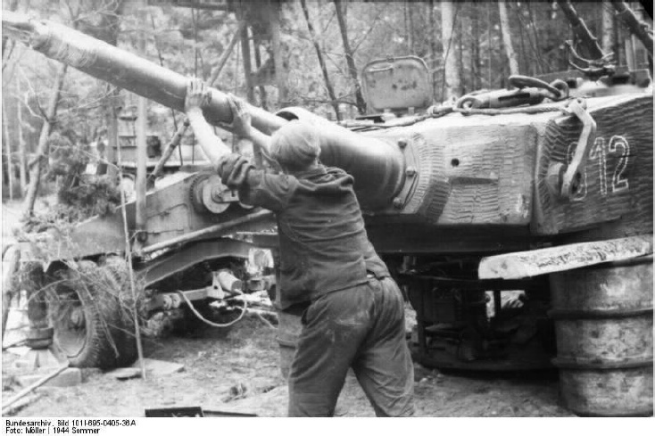 Tiger 912 having its gun tube removed at a Panzer-Instandsetzung, Bacau, Romania, June 1944
