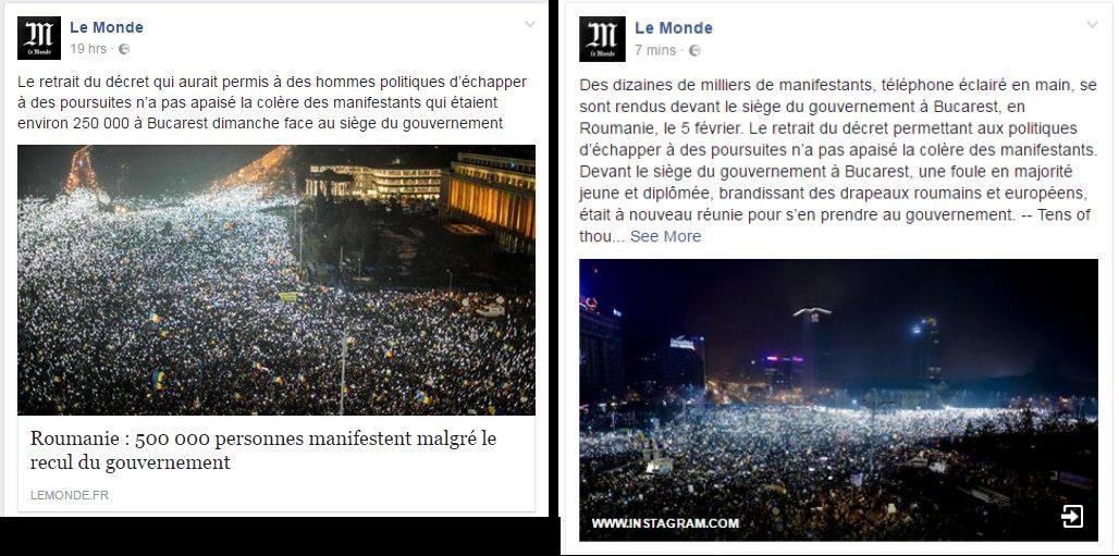 """La mai putin de 20 de ore de cand LeMonde dadea 250.000 de manifestanti in Bucuresti, cotidianul francez reface numaratoarea si spune ca a fost vorba doar de """"zeci de mii""""."""
